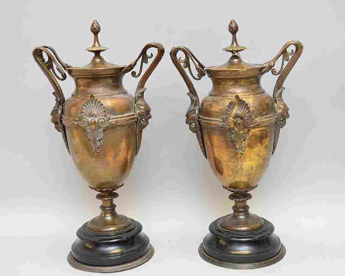 """Pair Bronze Urns With Marble Bases. Ht. 14 1/2"""""""