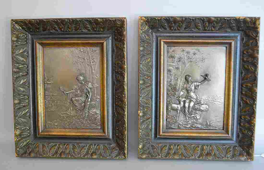 Pair Silvered Metal Art Nouveau Plaques in carved wood