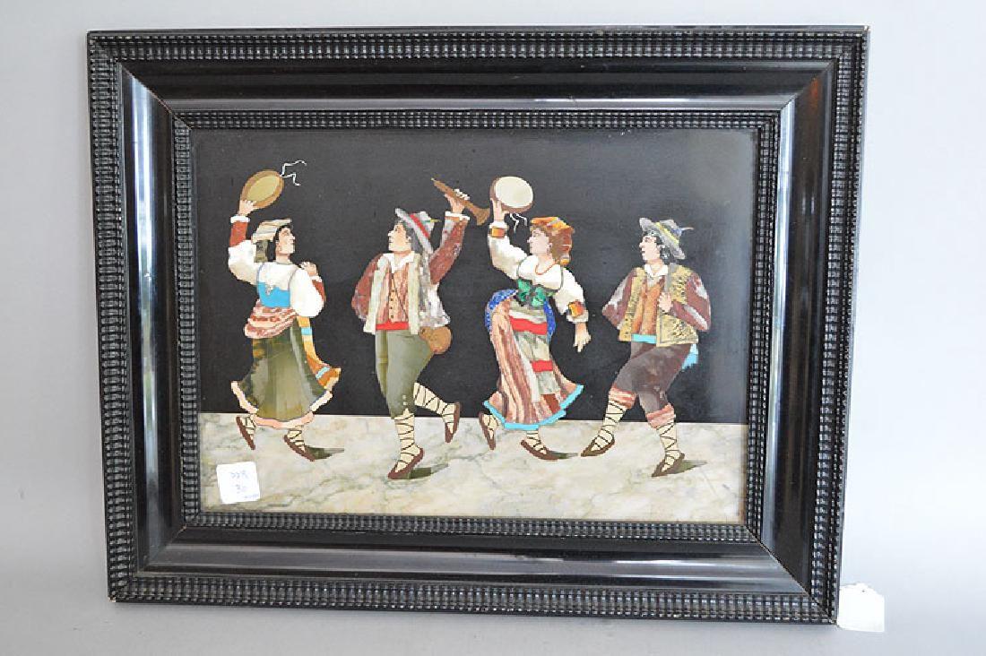 """Framed Pietra Dura Plaque """"The Band"""".  10"""" x 13"""""""