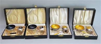 4 Danish Sterling Salt & Pepper Sets in original boxes.