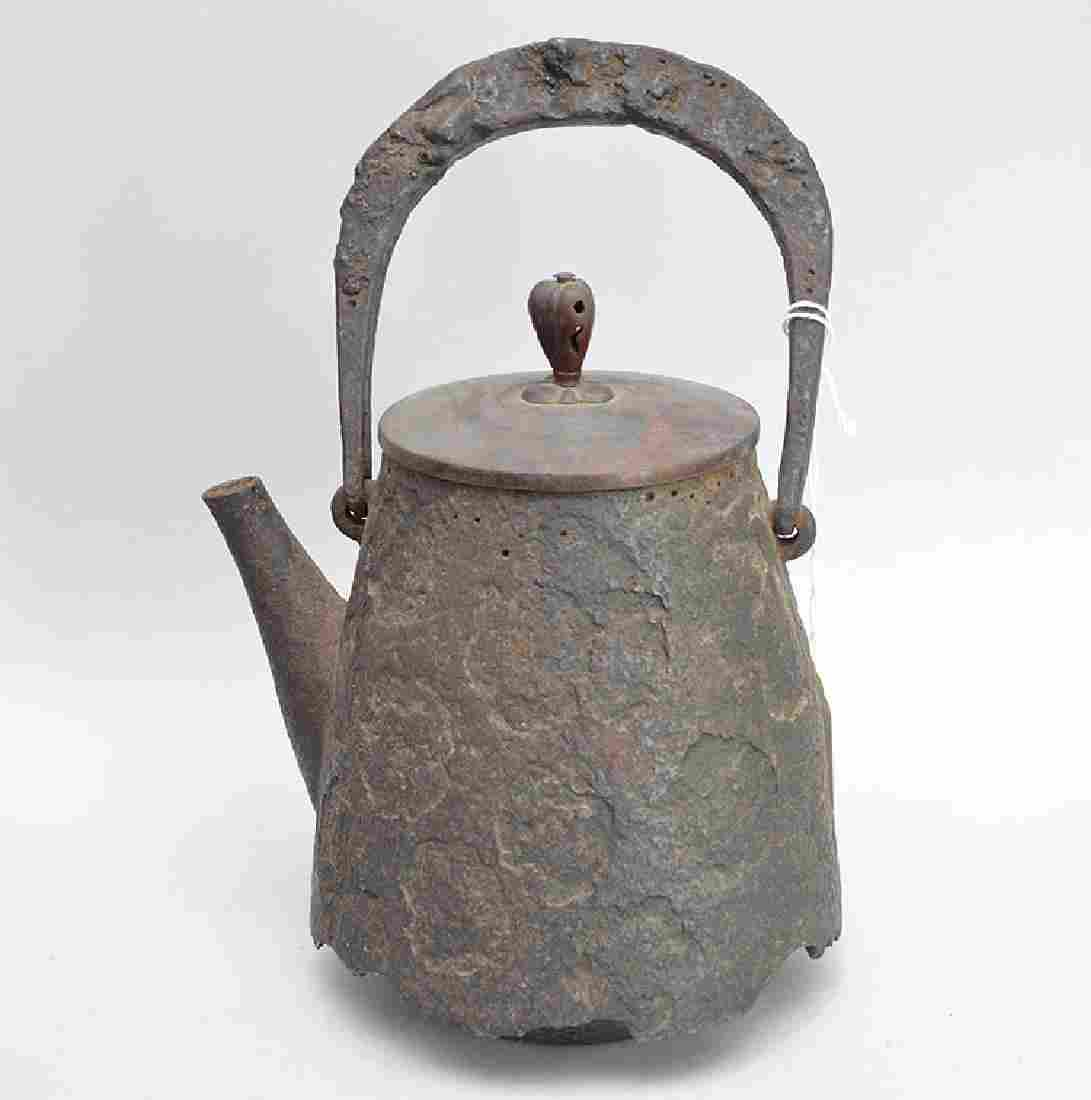 """Early Iron Japanese Teapot with bronze lid.  Ht. 9 1/2"""""""