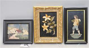 """3 Pietra Dura Framed Plaques.  Flowers 6 1/2"""" x 5 """","""
