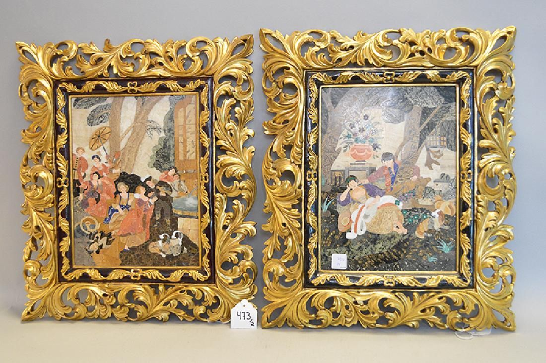 "2 Pietra Dura Framed Plaques.  ""People In Courtyard"""