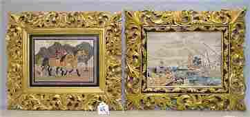 """2 framed Pietra Dura Plaques.   """"Horses"""" 16"""" x 20"""""""