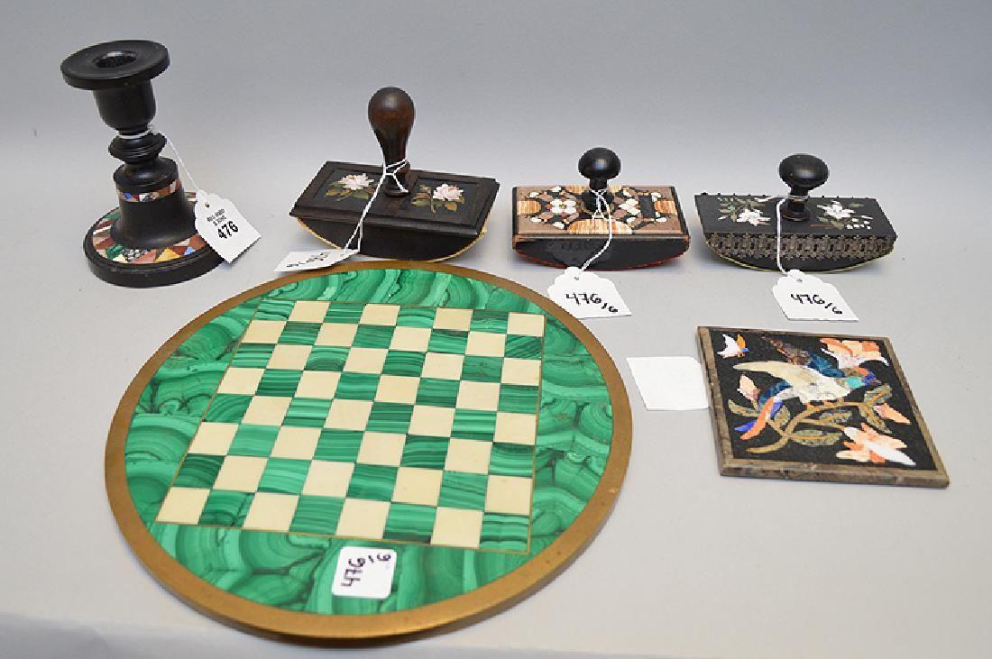 """6 Pietra Dura Articles.  Circular Chess Board Dia. 11"""","""