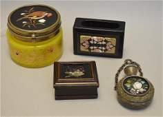 4 Pietra Dura Articles.  Art Glass Box with pietra dura