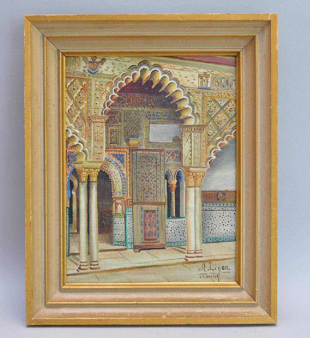 A. Liger. (Seville 1960). Moorish Architecture. Oil on