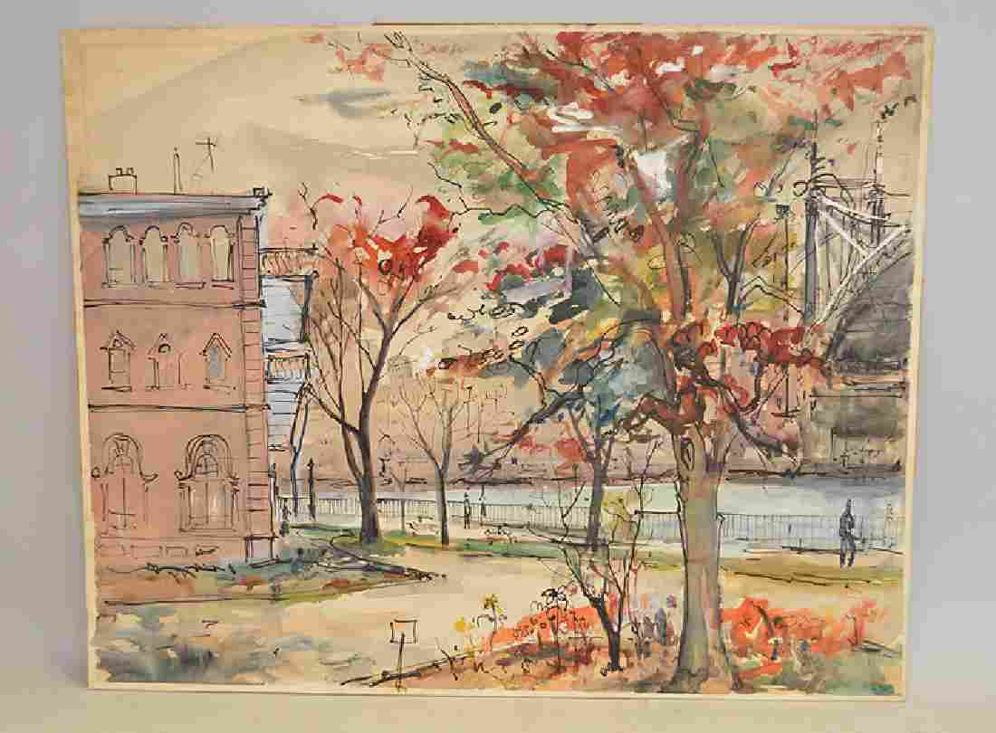 NYC park scene, Watercolor on cardboard, signed