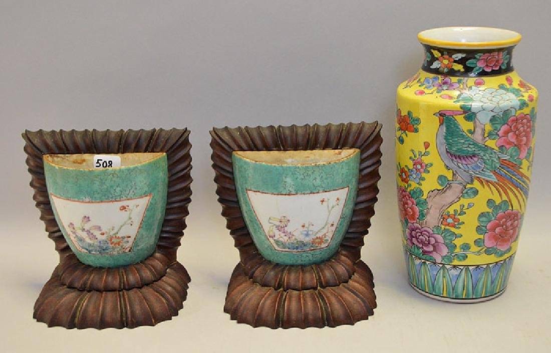 3 Chinese Articles/  Vase (has been drilled and filled)