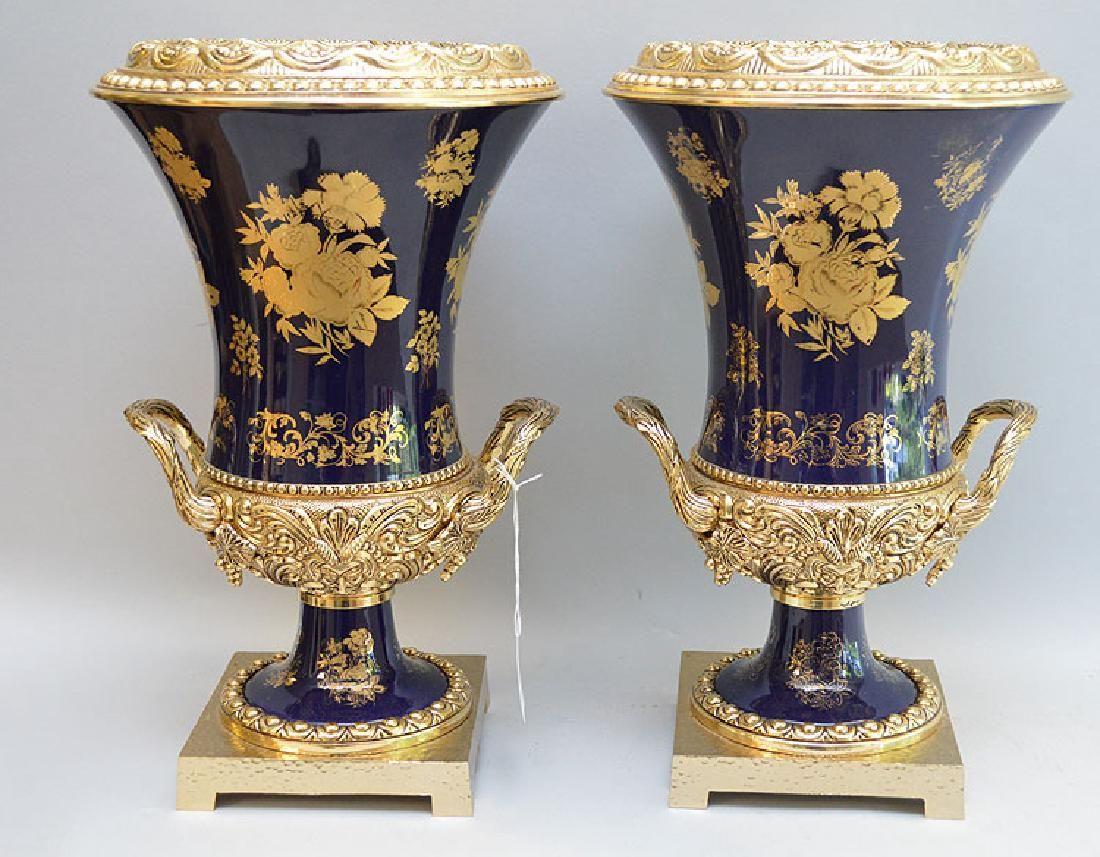 Pair Large French Gilt Bronze & Porcelain Vases.  Ht.