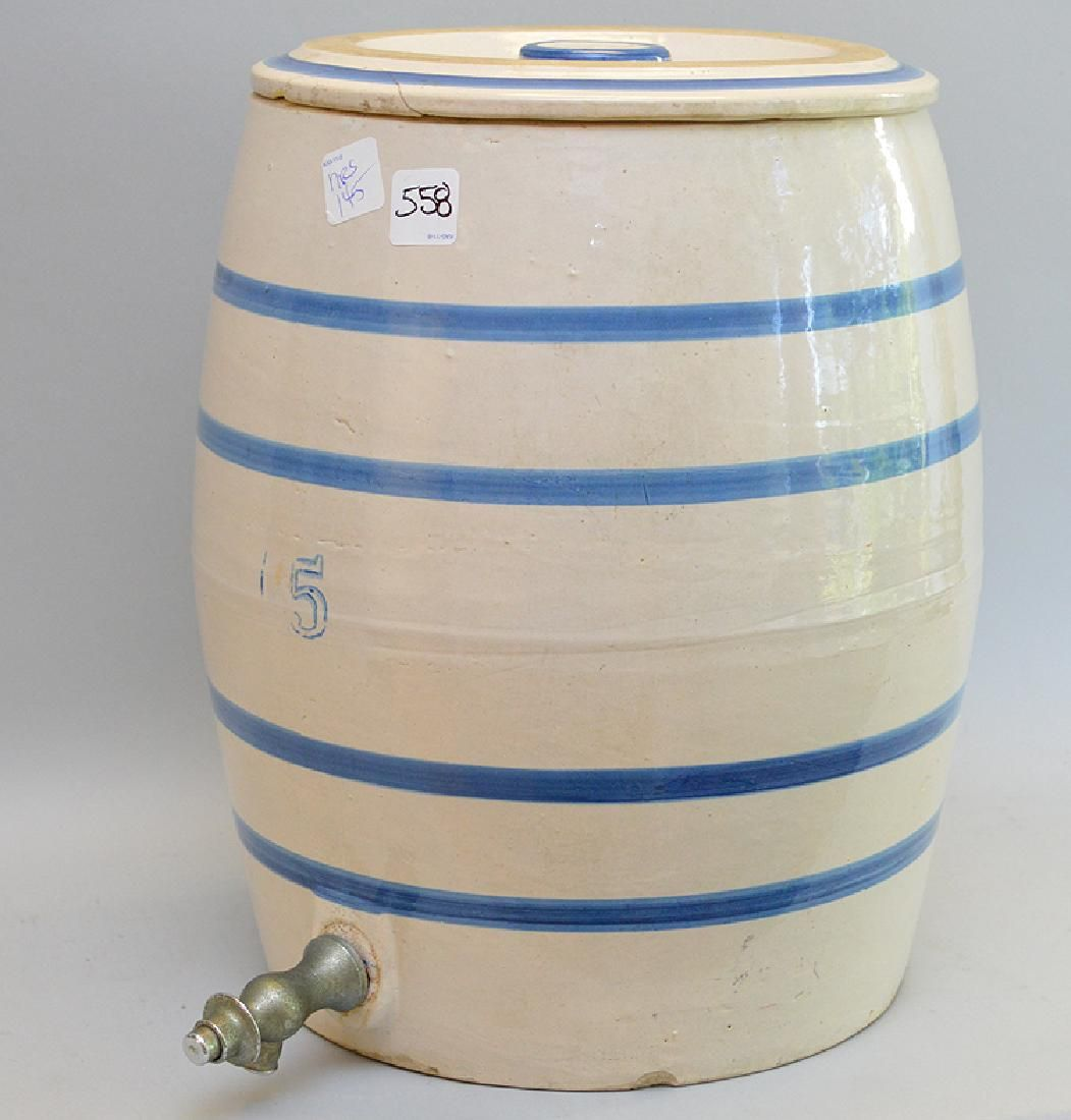 "5 gallon stoneware crock dispenser, 14 1/2""h"