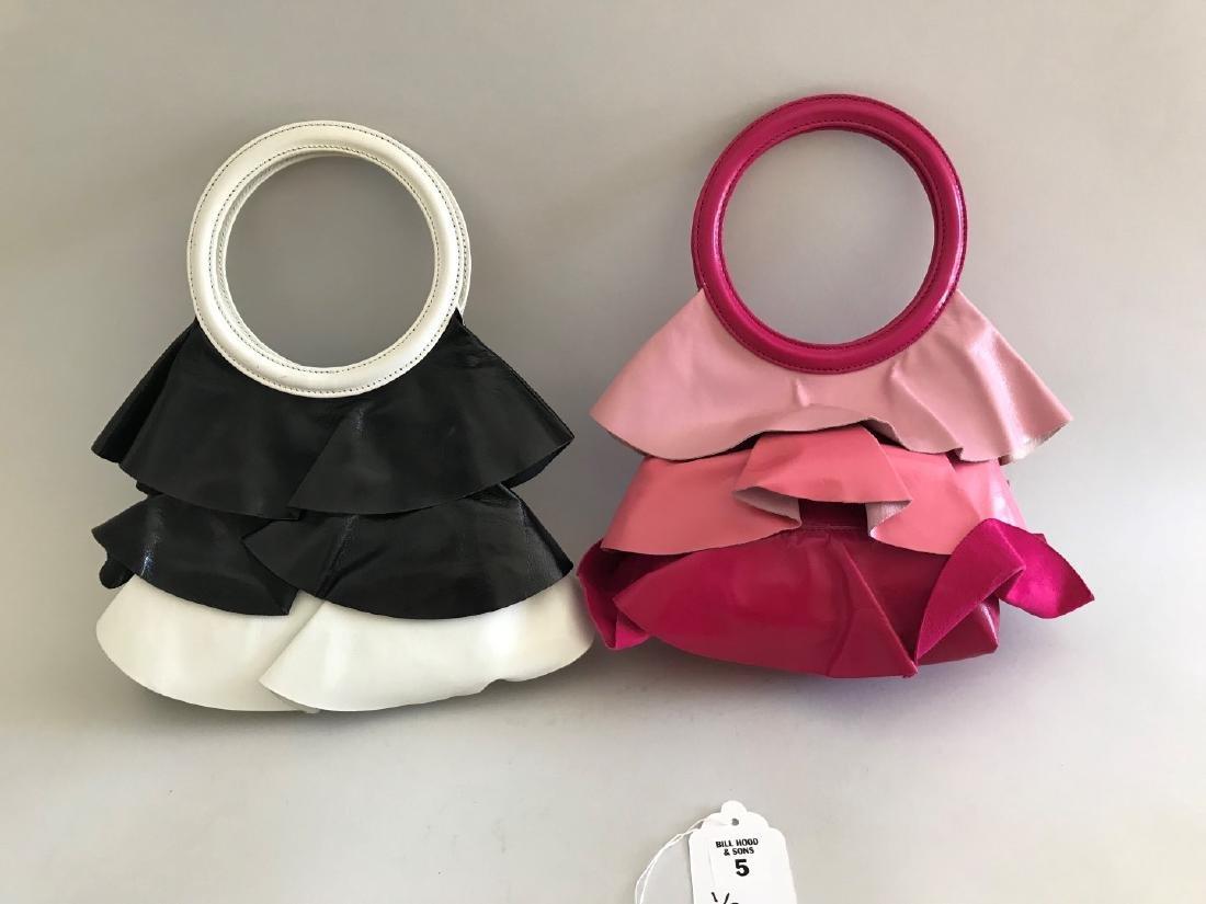 "2 Moschino Leather Handbags, Vintage, Skirt-shaped, 5"""