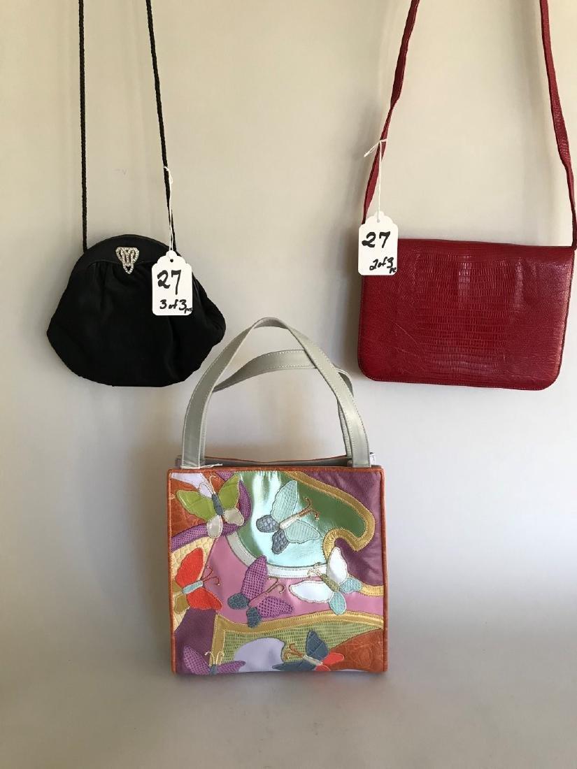 3 Designer Handbags (1) Shariff Multi-colored Leather