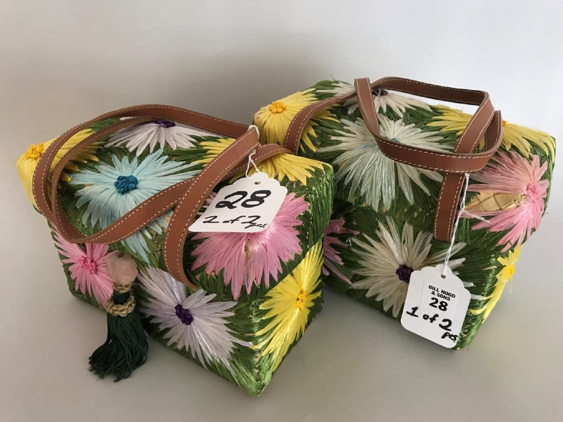 2 Kate Spade Box-shaped Straw Bags with multi-colored