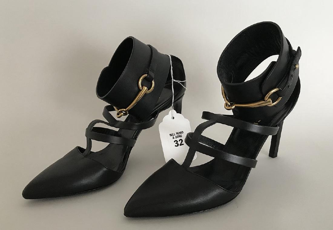 Pair of Gucci Leather High Heels, Black with Gilt