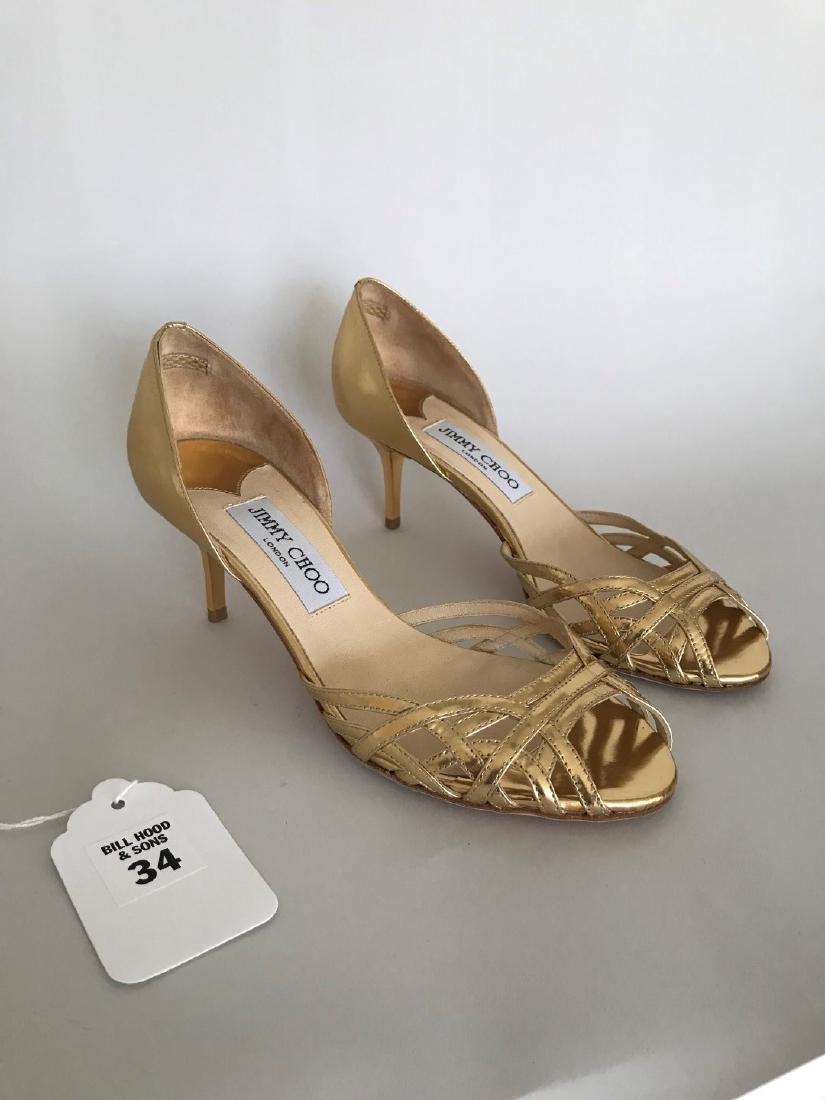 "Jimmy Choo Gold Leather Peep-toe Shoes, 2"" Gold Plastic"