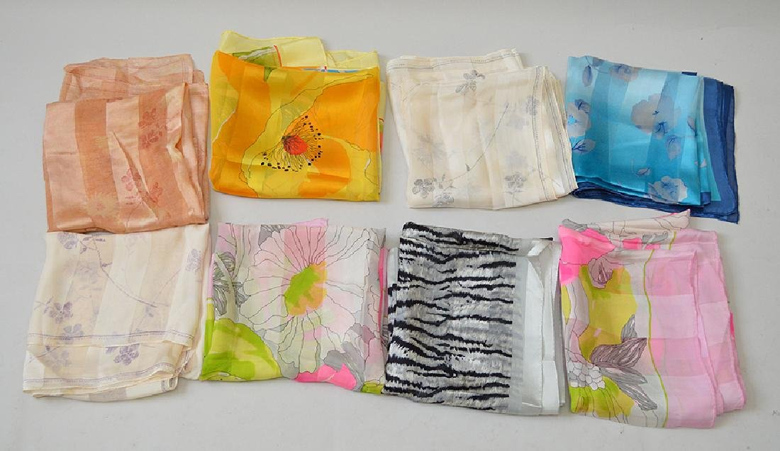 Lot of 8 Silk Scarves by Designers including Adrienne