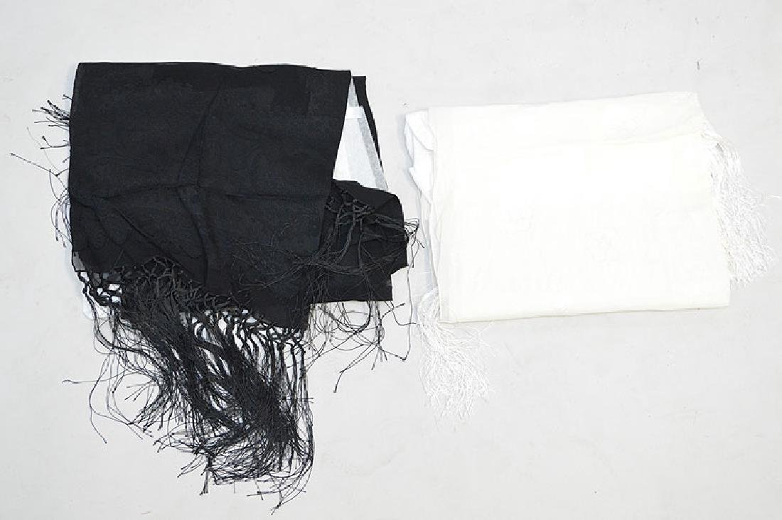 Lot of Two Giorgio Armani Silk Scarves with Fringe, one