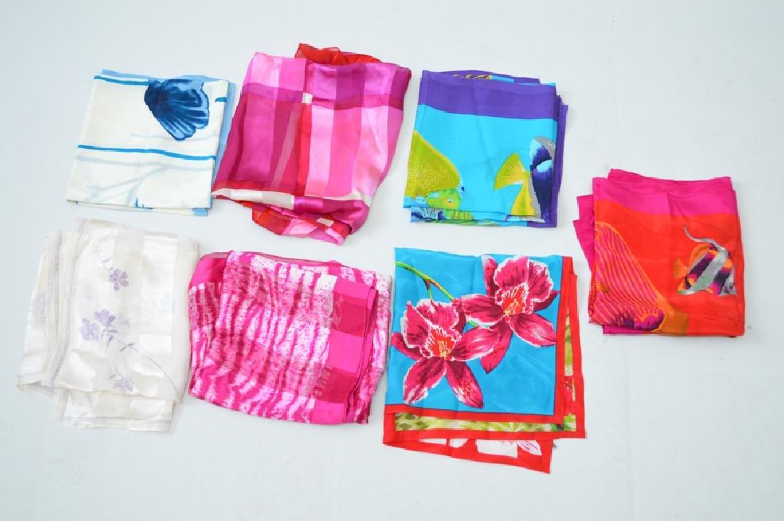 Lot of Six Assorted Designer Silk Scarves, including