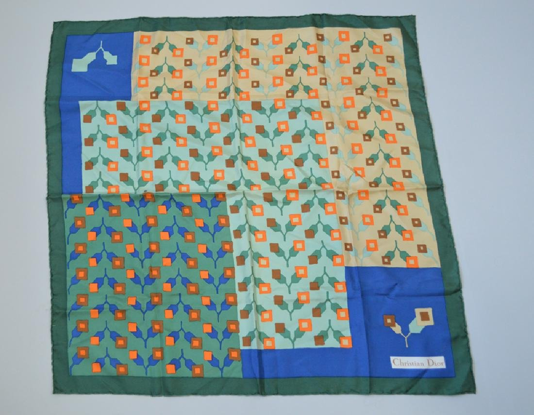 Christian Dior Silk Scarf Greenish Blue With Orange
