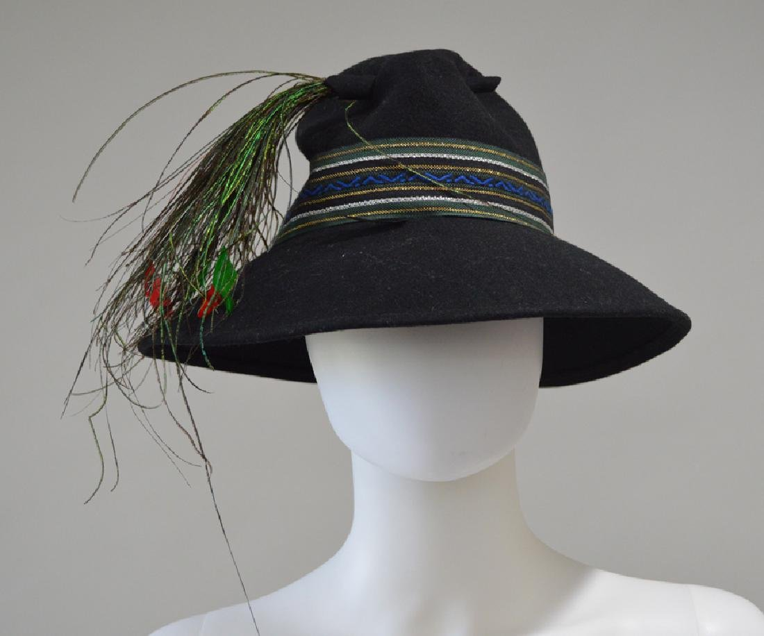 Adolfo Black Felt Hat With Peacock Feathers