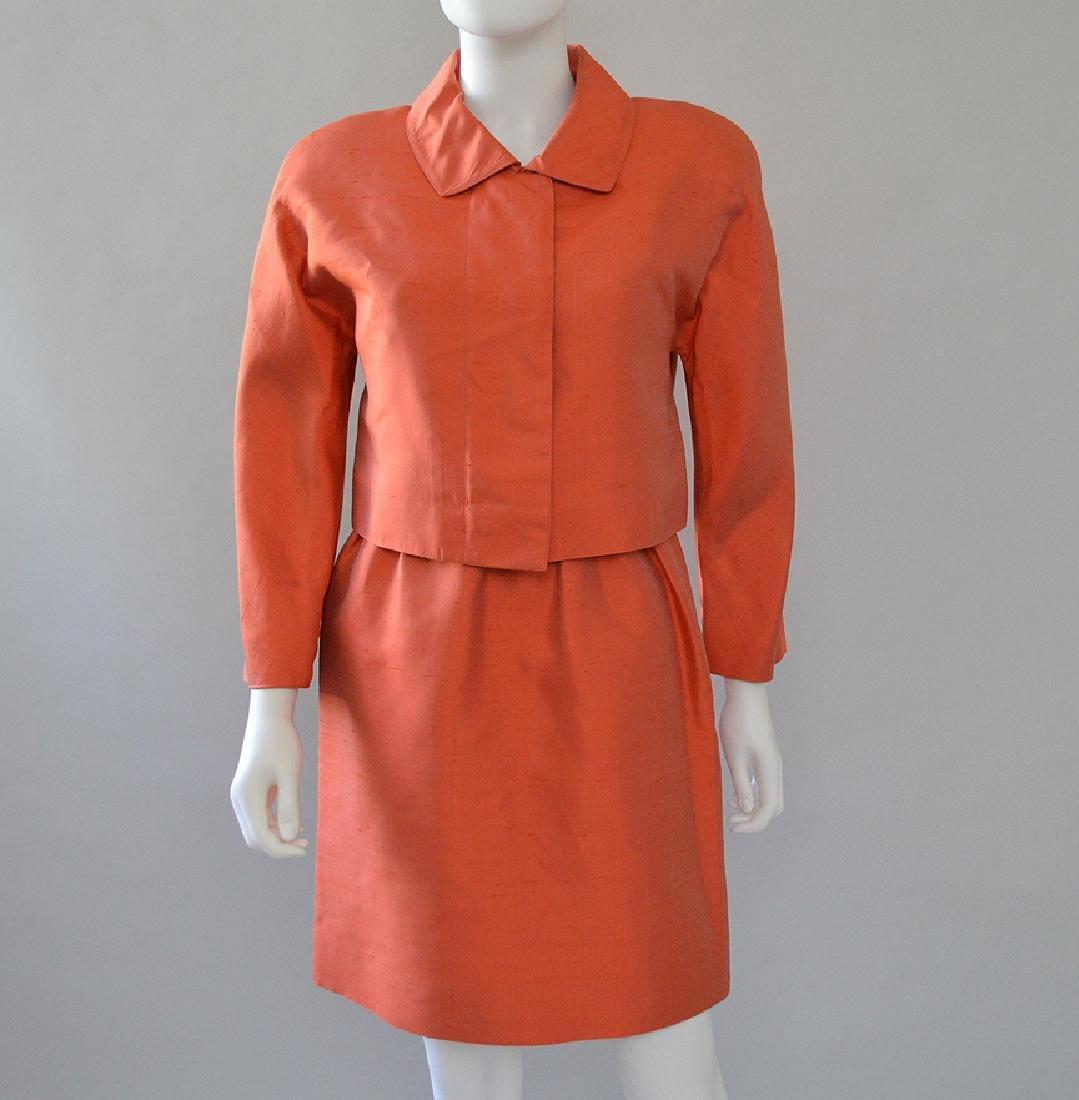 Oscar de la Renta 2pcs Orange Silk Dress & Jacket,