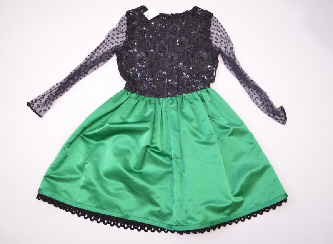 Bill Blass Laced & Satin Green/ Black Cocktail Dress,