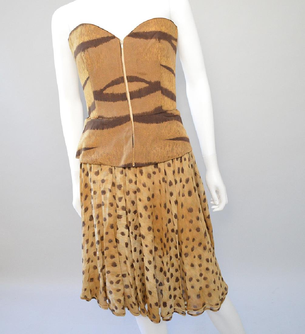 Valentino Faux Leopard Stripe Top & Skirt. Made in