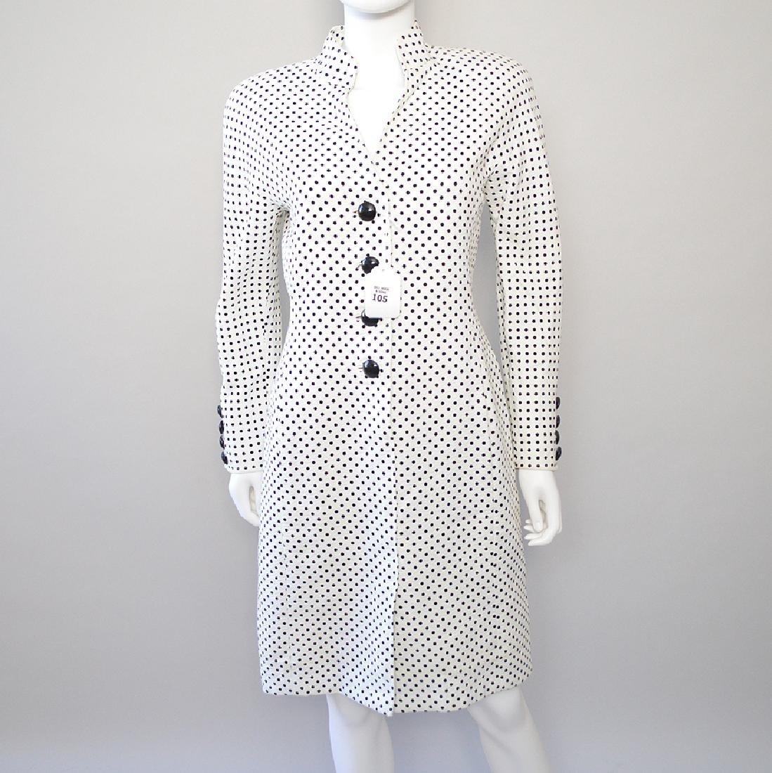 Oscar de la Renta Blk & White Polka Dot Dress. S: 8