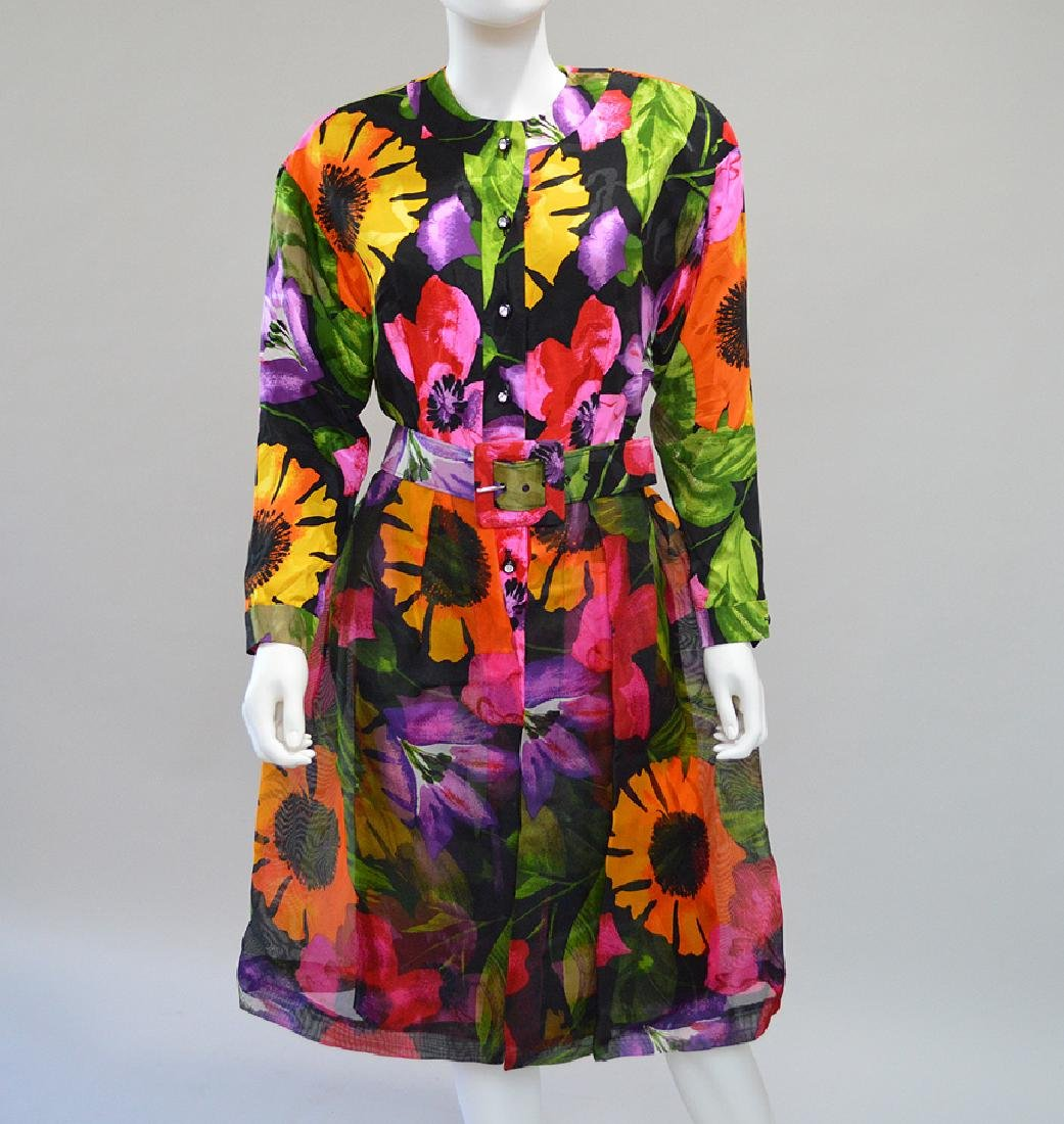Adele Simpson Cocktail Dress with Flower Print. S:12.