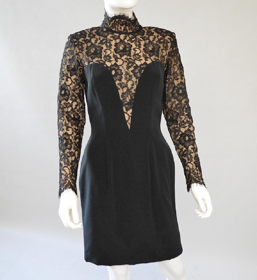 Bob Mackie Blk Evening Dress with Lace. S: 8