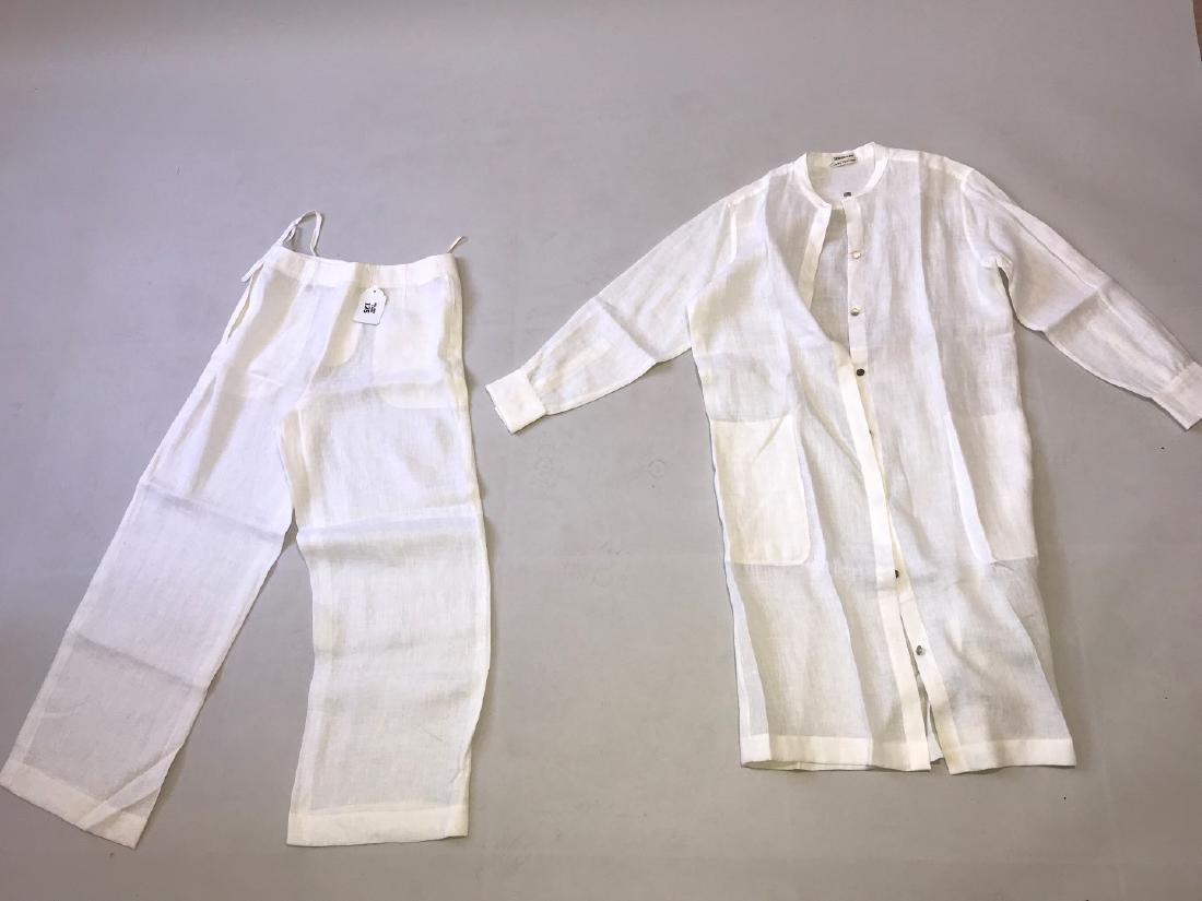 Vintage Hermes white linen pant suit, size 38