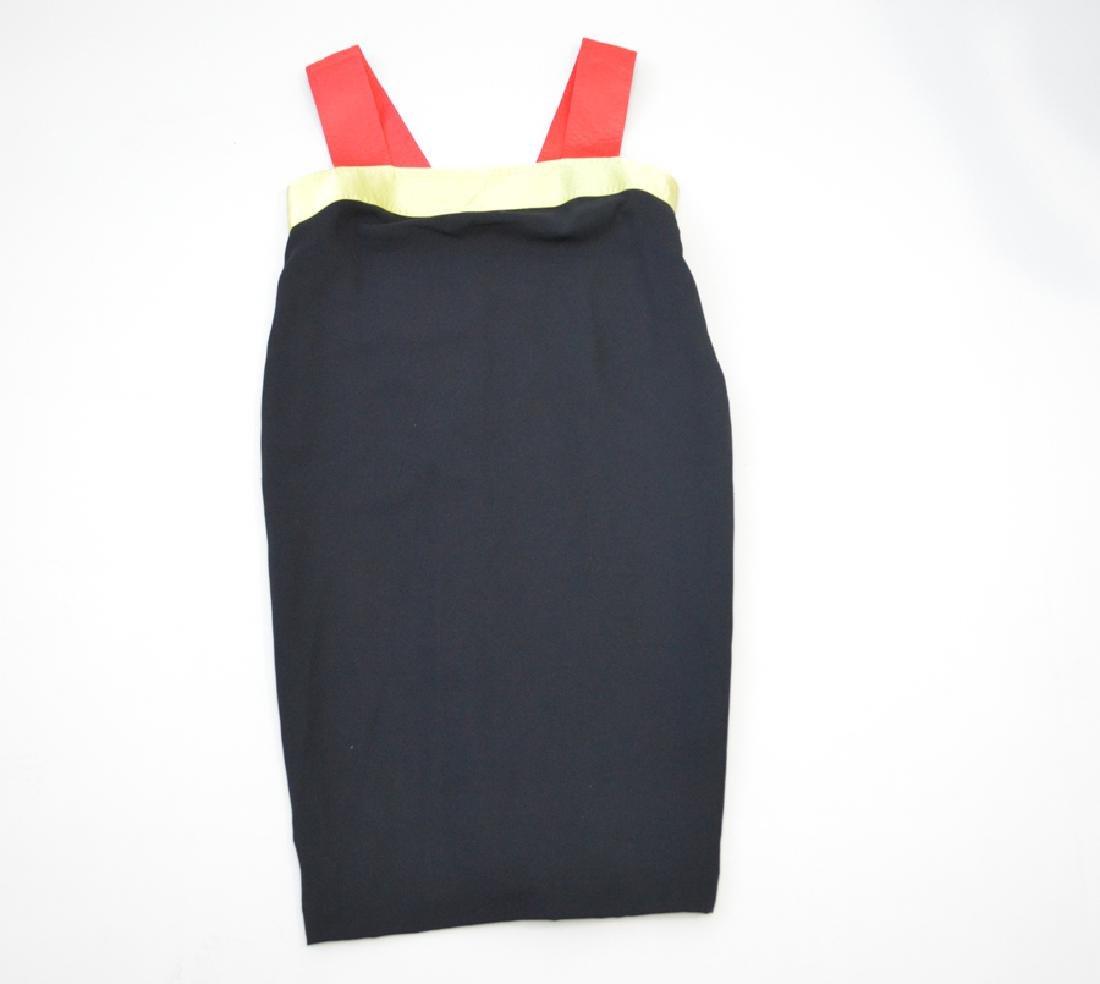 Bill Blass Black With Salmon Stripes Border Dress. Size