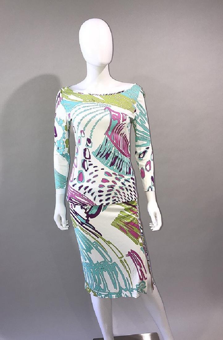 2 Emilio Pucci Blouse & Skirt Set, Rayon 3/4 Sleeve