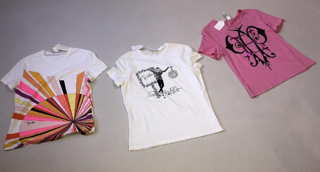 3 Emilio Pucci Short-sleeved T-shirts, Cotton Blend,