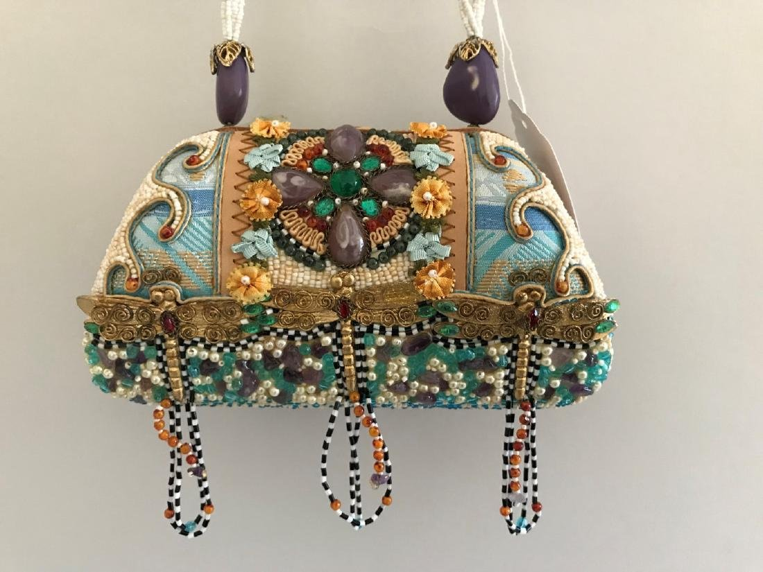 Hand Beaded Mary Frances Handbag with Tan Suede with