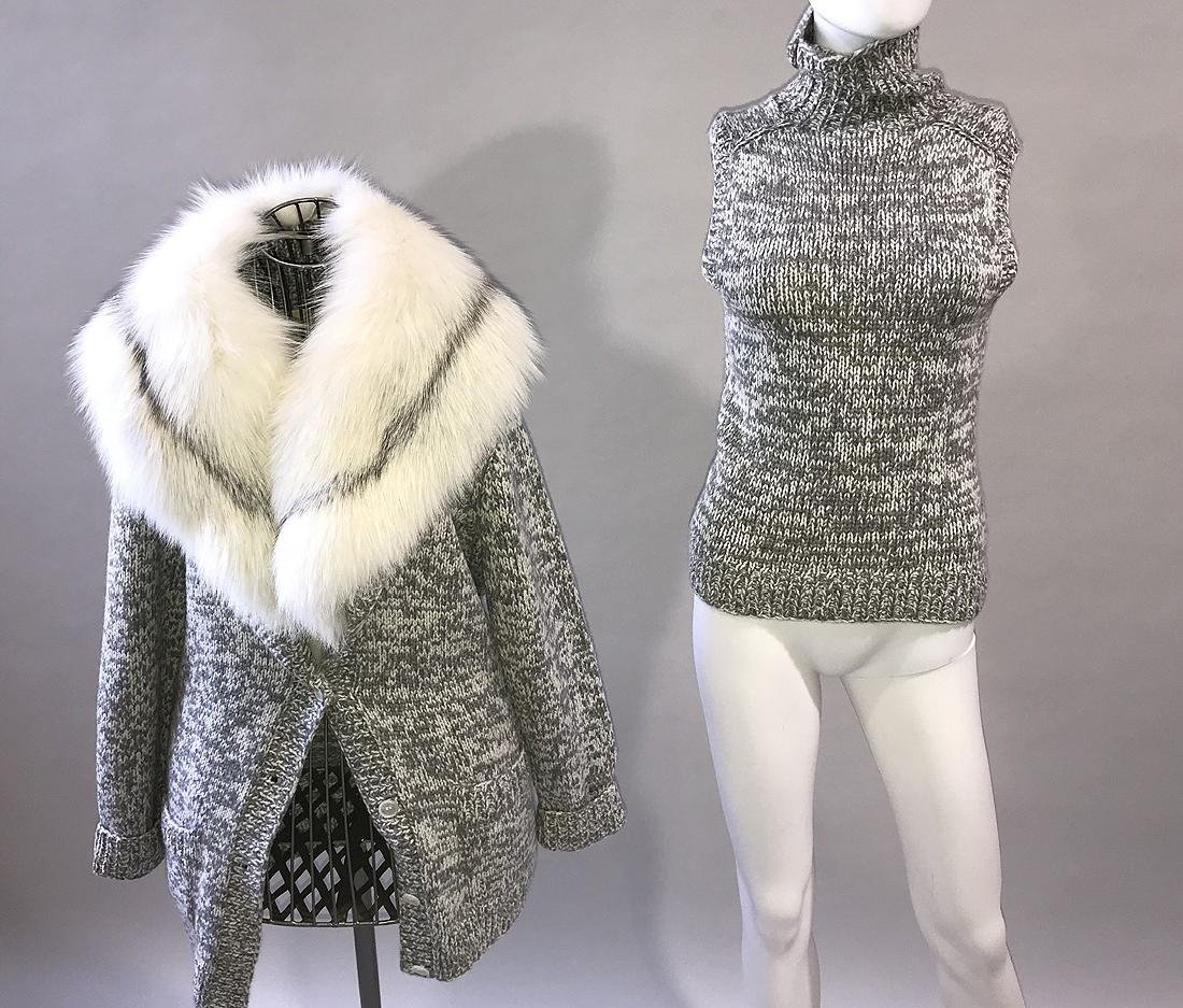 Michael Kors 2 Piece Sweater Set, Grey Cable Knit wih