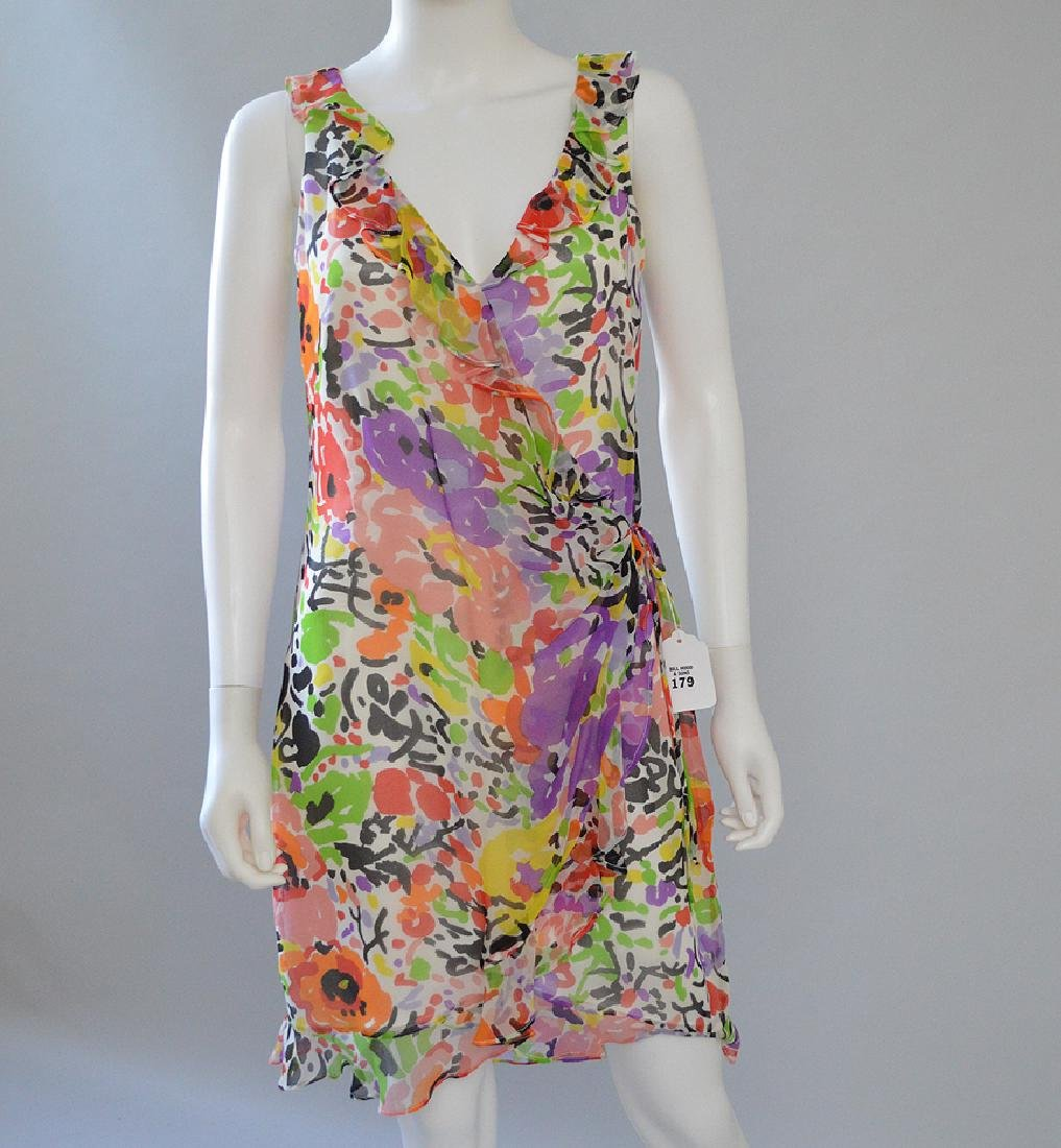 Vintage David Meister Sleeveless Silk Dress, White with