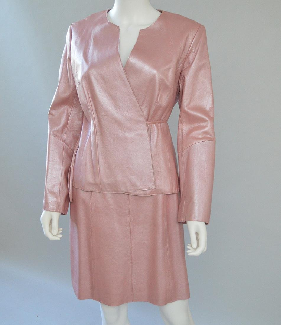 Vintage BCBG Leather Skirt Suit, Irridescent Pink,