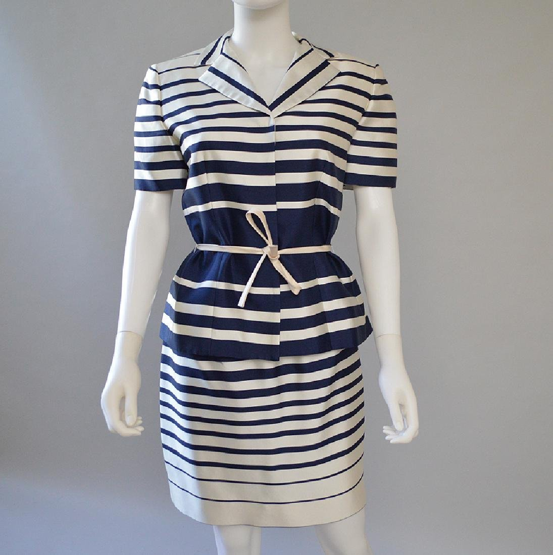 Vintage Bigio Silk Blend Short Sleeve Skirt Suit, Blue