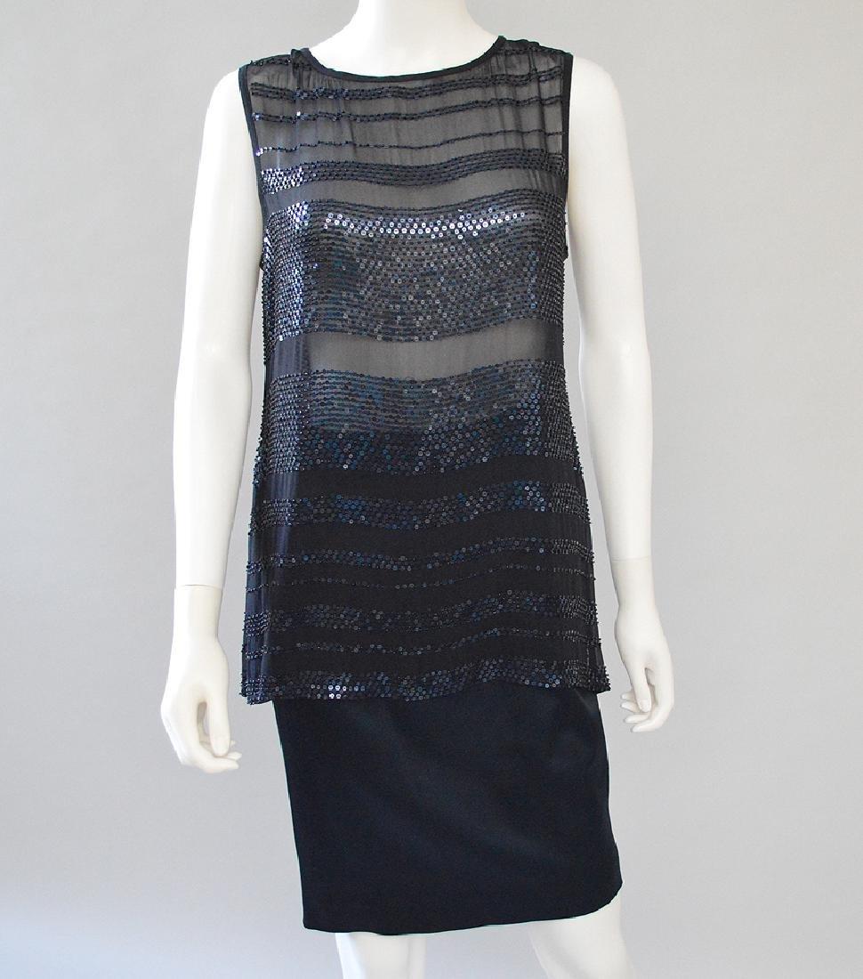 Ellen Tracy Silk Sequinned Top and Satin Skirt set,