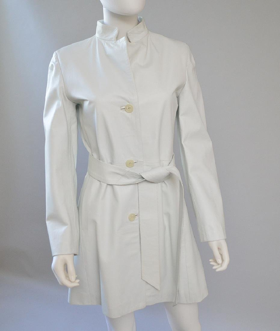 "Vintage Vera Pelle White Leather Coat, with 2"" Wide"