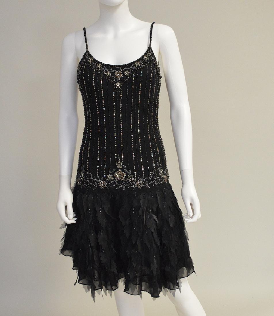 Vintage Sue Wong Silk Cocktail Dress circa 1999, Black,