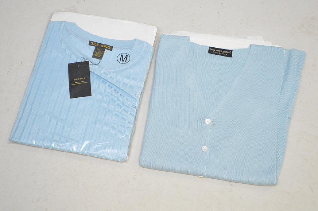 Lot of Two Silk Sweaters in Light Blue, Ladies Size