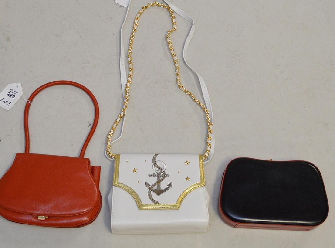Lot of Three Handbags; (1) La Bagagerie, Brick-colored