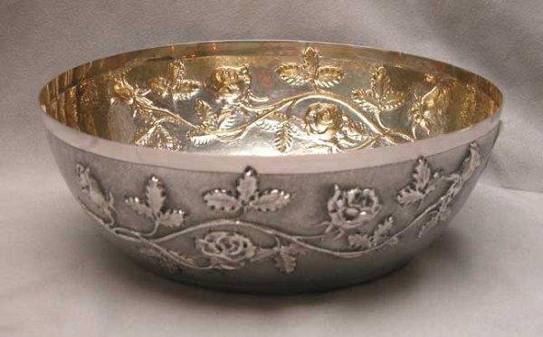 1: Continental silver bowl (800 Fine) w/ floral repose,