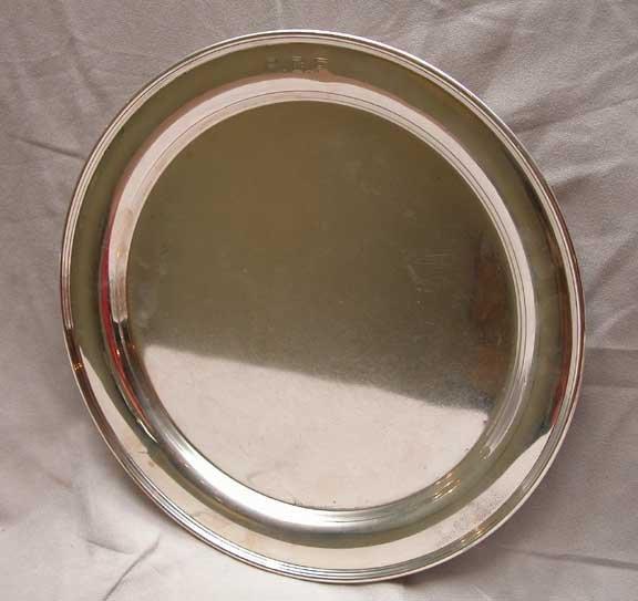 "5: Cartier sterling silver tray, 12"" diam., 21oz."