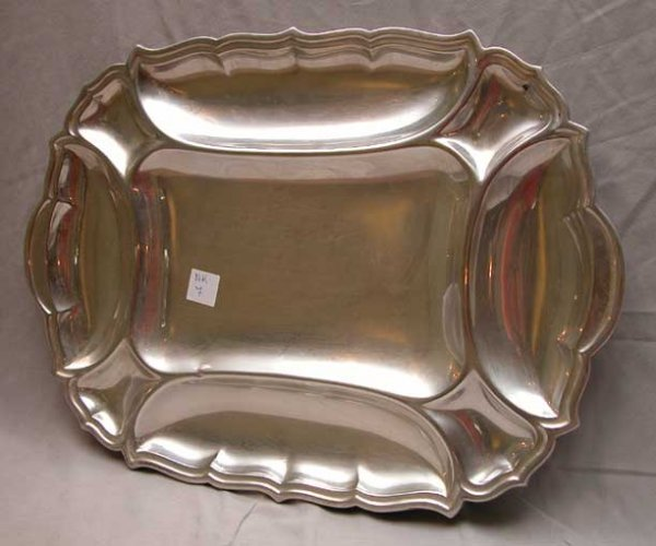 7: American Art Deco sterling silver serving tray, Fran