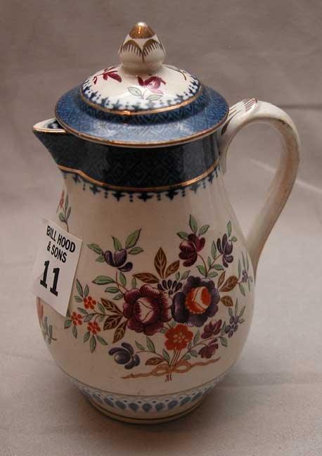 """11: Booth's creamer, """"Lowestoft  Border"""", floral design"""