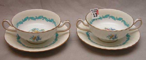 13: 2 Minton bullion bowls & 6 under plates